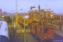 Elektrifizierung im Bahnhof Velgast im Jahr 1990